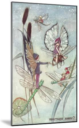 Fairies Riding Dragonflies and Bees--Mounted Art Print
