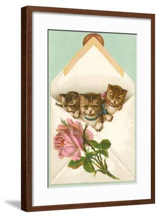 Kittens in Envelope with Rose--Framed Art Print