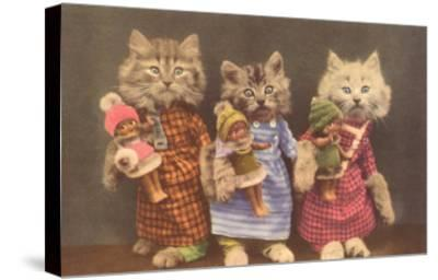 Dressed Kittens with Dolls--Stretched Canvas Print