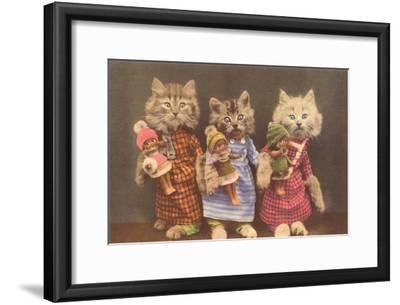 Dressed Kittens with Dolls--Framed Art Print