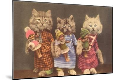 Dressed Kittens with Dolls--Mounted Art Print