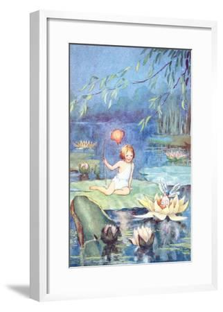 Child and Fairy on Lily Pond--Framed Art Print