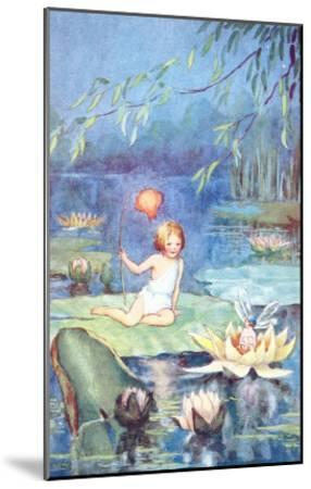 Child and Fairy on Lily Pond--Mounted Art Print
