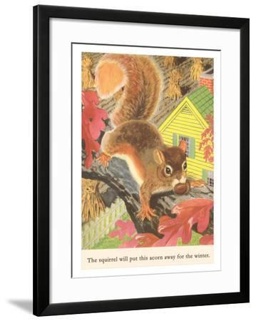 Squirrel with Acorn--Framed Art Print