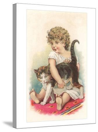 Little Girl with Cat--Stretched Canvas Print