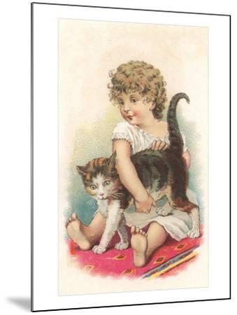 Little Girl with Cat--Mounted Art Print