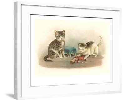 Two Kittens with Doll--Framed Art Print