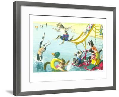 Cats Sliding into Swimming Pool--Framed Art Print