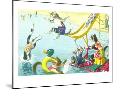Cats Sliding into Swimming Pool--Mounted Art Print