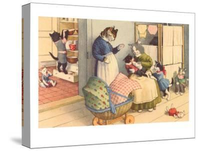 Cartoon Cats Playing House--Stretched Canvas Print