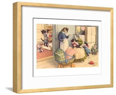 Cartoon Cats Playing House--Framed Art Print