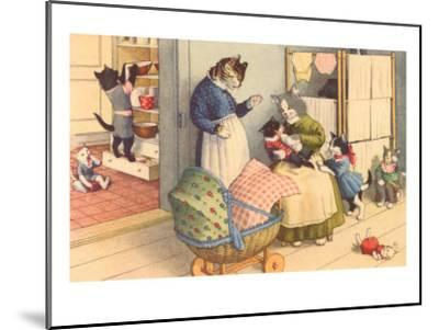 Cartoon Cats Playing House--Mounted Art Print