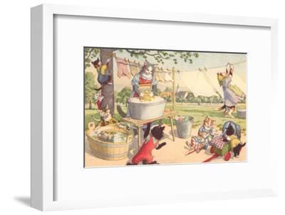 Cats on Laundry Day--Framed Art Print