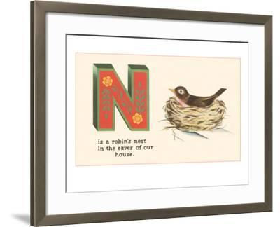 N is a Robin's Nest--Framed Art Print