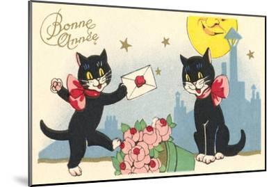 French Black Cats, Bonne Annee--Mounted Art Print