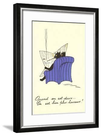 French Black Cats Reading Newspaper--Framed Art Print