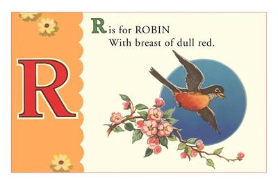 R is for Robin--Stretched Canvas Print