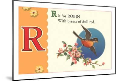 R is for Robin--Mounted Art Print