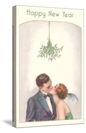Happy New Year, Couple Kissing Under Mistletoe--Stretched Canvas Print