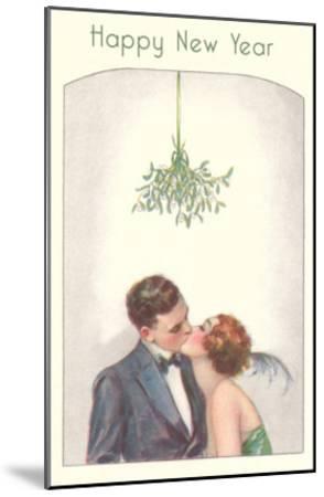Happy New Year, Couple Kissing Under Mistletoe--Mounted Art Print