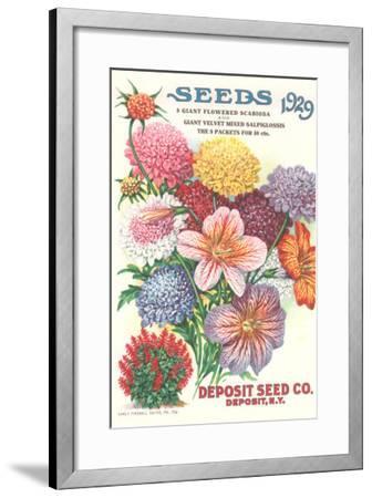 Seed Catalogue with Flower Assortment--Framed Art Print
