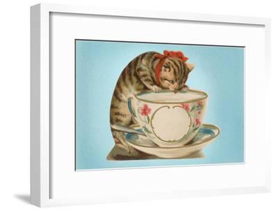 Kitten Drinking Out of Tea Cup--Framed Art Print
