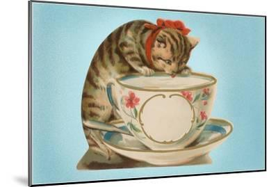 Kitten Drinking Out of Tea Cup--Mounted Art Print