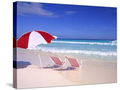 Beach Umbrella and Chairs, Caribbean-Bill Bachmann-Stretched Canvas Print