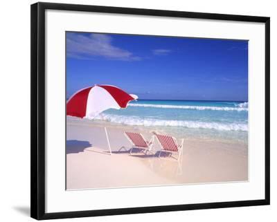 Beach Umbrella and Chairs, Caribbean-Bill Bachmann-Framed Photographic Print