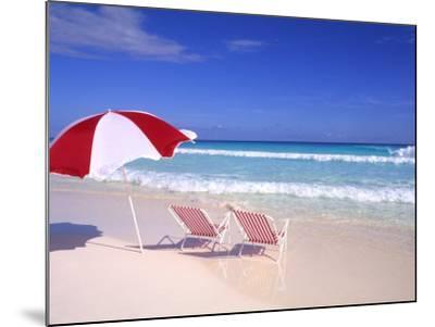 Beach Umbrella and Chairs, Caribbean-Bill Bachmann-Mounted Photographic Print