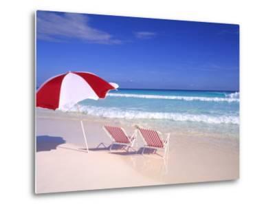 Beach Umbrella and Chairs, Caribbean-Bill Bachmann-Metal Print