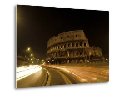 Colosseum Ruins at Night, Rome, Italy-Bill Bachmann-Metal Print