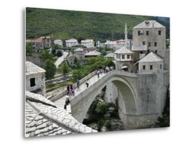 The Old Bridge Stari Most, Mostar, Bosnia-Hercegovia-Walter Bibikow-Metal Print
