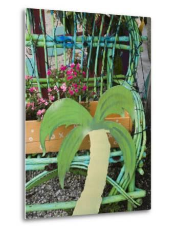 Colorful Art Gallery Details, Pine Island, Florida, USA-Walter Bibikow-Metal Print