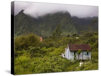 Small Creole-style cabin, Plaine-des-Palmistes, Reunion Island, France-Walter Bibikow-Stretched Canvas Print