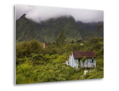 Small Creole-style cabin, Plaine-des-Palmistes, Reunion Island, France-Walter Bibikow-Metal Print