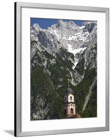 Town church and mountains, Mittenwald, Bayern-Bavaria, Germany-Walter Bibikow-Framed Photographic Print