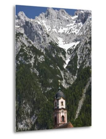 Town church and mountains, Mittenwald, Bayern-Bavaria, Germany-Walter Bibikow-Metal Print