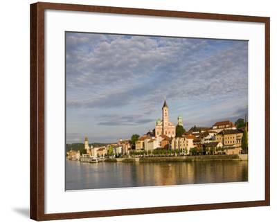 Danube River View with St. Paul church, Passau, Bayern-Bavaria, Germany-Walter Bibikow-Framed Photographic Print