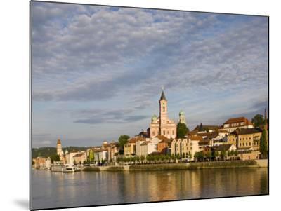 Danube River View with St. Paul church, Passau, Bayern-Bavaria, Germany-Walter Bibikow-Mounted Photographic Print