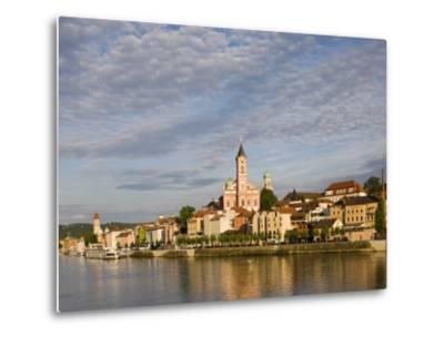 Danube River View with St. Paul church, Passau, Bayern-Bavaria, Germany-Walter Bibikow-Metal Print