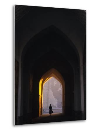 Silhouette Through Archway, Bukhara, Uzbekistan-Ellen Clark-Metal Print