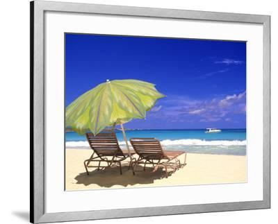 Beach Umbrella, Abaco, Bamahas-Michael DeFreitas-Framed Photographic Print