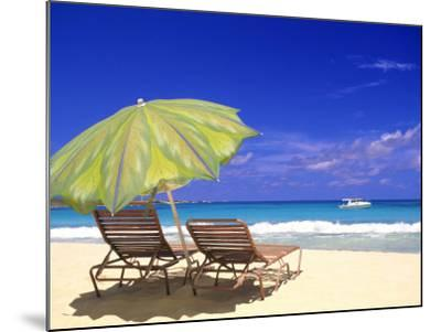 Beach Umbrella, Abaco, Bamahas-Michael DeFreitas-Mounted Photographic Print
