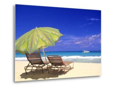 Beach Umbrella, Abaco, Bamahas-Michael DeFreitas-Metal Print
