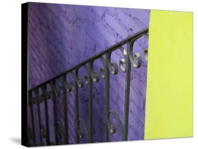 Iron Railing Against Colorful Walls, San Miguel, Guanajuato State, Mexico-Julie Eggers-Stretched Canvas Print