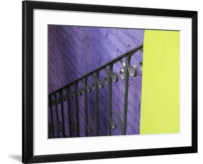 Iron Railing Against Colorful Walls, San Miguel, Guanajuato State, Mexico-Julie Eggers-Framed Photographic Print