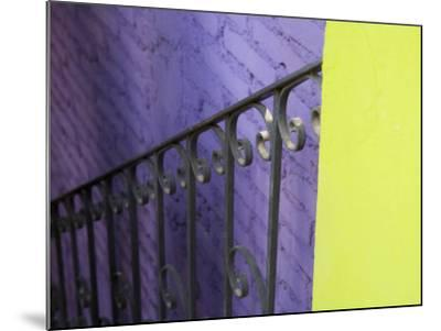 Iron Railing Against Colorful Walls, San Miguel, Guanajuato State, Mexico-Julie Eggers-Mounted Photographic Print