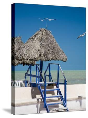 Steps Leading over the Seaside Boulevard, Progreso, Yucatan, Mexico-Julie Eggers-Stretched Canvas Print