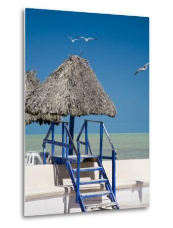 Steps Leading over the Seaside Boulevard, Progreso, Yucatan, Mexico-Julie Eggers-Metal Print